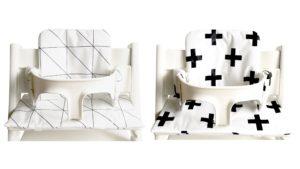 zwart wit stoelkussen voor de Stokke Tripp Trapp